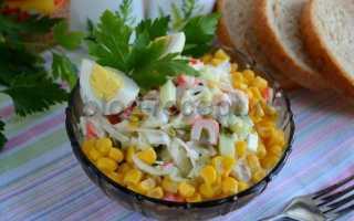 Салат с капустой, кукурузой и крабовыми палочками