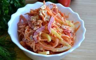 Салат из курицы корейской моркови маринованных. Салат с корейской морковью и курицей. Салат морковью по-корейски, соленым огурцом и куриной грудкой