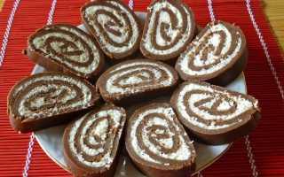 Шоколадный рулет без выпечки рецепт. Рулет «Баунти» без выпечки: рецепты. Шоколадный рулет без выпечки из печенья