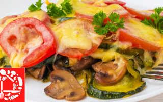 Запеканка с кабачками грибами и сыром