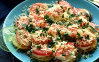 Кабачки жареные с помидором чесноком и сыром