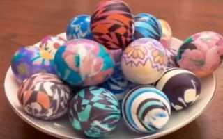 Как покрасить яйца в тряпочках Пасхальное яйцо