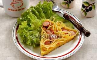 Запеканка с макаронами и сыром на сковороде