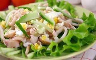 Салат из кальмаров с яйцом, сыром и чесноком
